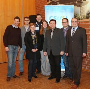 Der neue CSU Kreisvorsitzende mit seinen JU-Vorstandskollegen